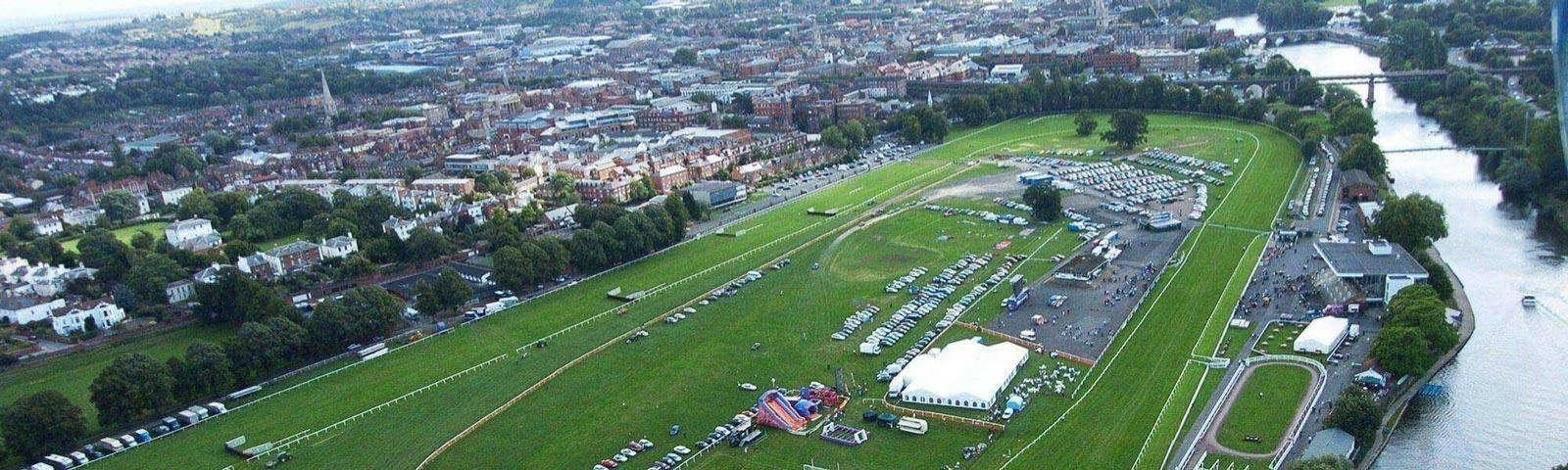 An aerial view of Worcester Racecourse.