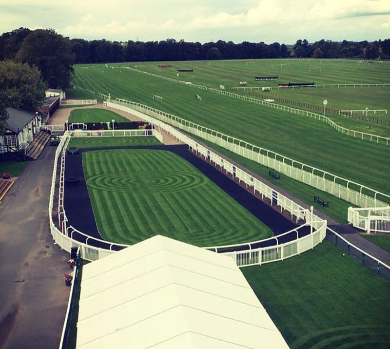 View of the parade ring at Worcester Racecourse.