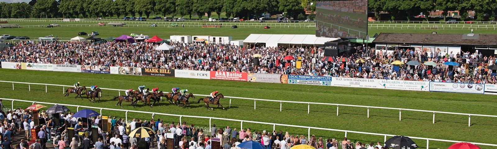 A huge crowd at Worcester Racecourse watch as the runners race towards the finishing post.