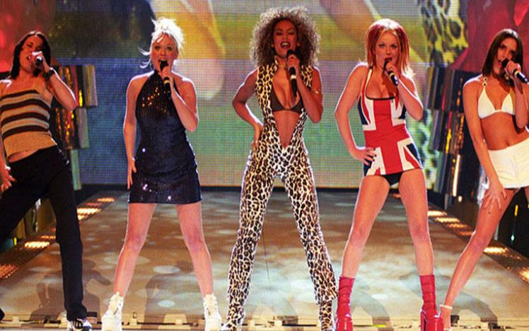 A picture of the Spice Girls on stage